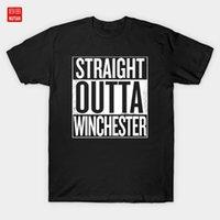 Herren T-shirts Straighta Winchester Supernatural White T-Shirt Dean Pentagram TV-Serie Fan Art1