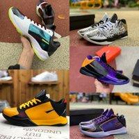 Ucuz ZK5 KB5 5 S Büyük Stag Bruce Lee Protro Basketbol Ayakkabıları 5x Champ Lakers Mor Sarı Altın 2 K20 Kaos Mamba Zoom ZK 5 V Erkek Sneakers