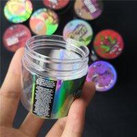 Autocollant hologramme 3,5 gramme 60 ml de sac mince menthe Casque de bocal en plastique réservoir de fleur d'herbe sèche avec autocollants