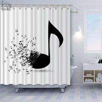 NYAA 3D Note musicale Rideaux de douche Rideaux de salle de bain en polyester imperméable pour la décoration de la maison