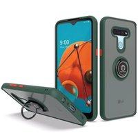 LG 스타일러스 6 하드 케이스 마그네틱 링 실리콘 젤 스킨 카 홀더 백 커버 용 갑옷 전화 케이스