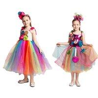 Robes Fille Sweet Rainbow Candy Filles Tutu Robe Colorful Balls Lollipop Cosplay Costume Enfants Pageant Vêtements de vêtements d'anniversaire