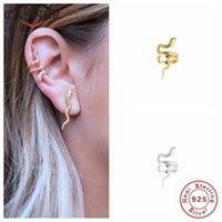 Canner Gold Color Real 925 Sterling Silver Ear Cuff Örhängen för Kvinnor Snake Earcuff Clip On Earring Inga Pierced Smycken