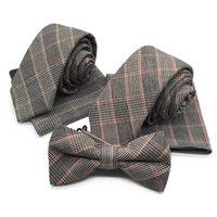 Traje de tela bufanda de 3 piezas Clásico de la banda de la pista de la tela escocesa versión estrecha 6 cm corbata de los hombres