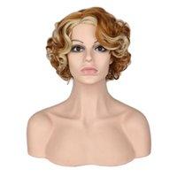 Короткие блондинки пушистые синтетические парики волос вьющиеся боб прически коричневые синтетический парик для женщин мода натуральные жаропрочные волосы парики косплей