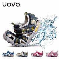 Уово летние пляжные мальчики обувь с закрытыми носкими сандалиями для мальчиков дизайнер сандалии малышей на 4 - 15 лет сандалии для девочек J1211
