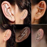 مسمار العصرية قوس قزح كريستال الأذن التفاف أقراط الزاحف للنساء الأذنين تشيكوسلوفاكيا الزركون متسلق ثقب هوك المجوهرات