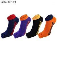 Wallyz YW 5 Paare / Los Baumwoll Mans Socken mit Zehen Bunte Quadratische Straße Mode Atmungsaktive Fünf-Finger-Socken für Mann Neuheit1