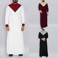Kaftan homens vestuário muçulmano jubba thobe abaya robe dubai saudita vendedor islâmico tradicional ramadan manga longa camiseta1