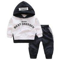 Moda niños ropa primavera otoño bebé niñas ropa conjunto niños algodón con capucha camiseta camiseta pantalones 2 unids conjuntos Casual Kids Trajes Q1203