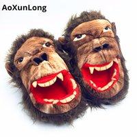 Aoxunlong Yeni Kış Sıcak Erkekler Terlik Güzel Maymun Peluş Ev Terlik Festivali Yaramazlık Unisex Flip Flop AB 39/44 Erkek Ayakkabı