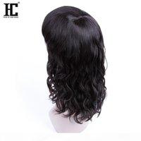 HC Saç Ürünleri Yok Dantel Peruk İnsan Saç Malezya Doğal Dalga Siyah Kadınlar için 12 inç Doğal Renk