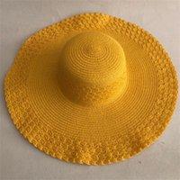 Lvtzj verão palha mulheres grande borda larga praia dobrável sol dobrável proteção UV Panama chapéu ósseo chapeu feminino y200602