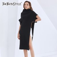 Twotwinstyle Casual Casual Casual Noir Tricoté Pour Femme Turtleneck Batwing Côté Split Midi Robes Midi Femme Automne Fashion 210203