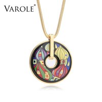 VAROLE new Bohemia Classic Jewelry Necklace for Women Choker Collares Bijoux Femme Snake Chain Vintage Style Painted Pendants