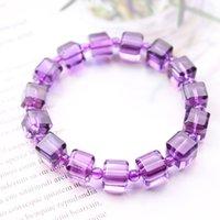 Lavande Naturel de quartz violet 9mm Faceted Cut Féminin Beads Beads Mâle Fileth Améthyste Bracelet Pierre AAAAAAA RS4H
