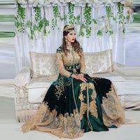 Verde marroquí Kaftan Caftan Muslim Vestidos de noche A-Line Manguncia de manga larga Apliques Dubai Árabe Turquía Abaya Islámica Vestido de ocasión Formal Vestido de fiesta