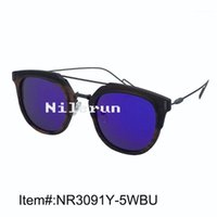 Gafas de sol Marca Magrey Metal Templos y Puentes de doble nariz grande Lente azul redonda Negro Gafas de sol de madera de ébano1