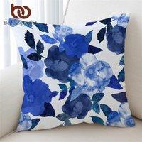 وسادة / وسادة الزخرفية beddingoutlet الزهور وسادة غطاء المائية حالة ورقة ليف رمي الزخرفية الأزرق funda cojin 45x45cm