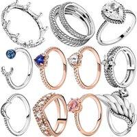 Cluster Ringen 2021 Mode 925 Sterling Zilveren Toenemende Maan Tiara Crown Ring Dames Engagement Anniversary Sieraden Maken Gift1