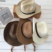 Cloches estate pieghevole cappello di paglia protezione solare protezione da cowboy occidentale contro i raggi UV Beach Sunhat Wide Brim Cowgirl Cappelli
