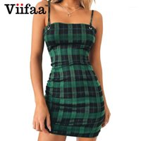 Casual Dresses VIIFAA Grün Plaid Bodycon Kleid Frauen 2021 Rückenkrawatte Ausschnitt Sexy Party Spaghetti Strap Sommer Mini Kleider1