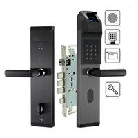 Serrure de porte d'empreinte digitale biométrique en acier inoxydable sans clé Smart Lock empreinte digitale + Mot de passe + carte RFID + clé de déverrouillage des chemins Home Hotel Use1