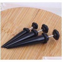 Svart UV-akrylfake öronproppar Stretcher Earring Taper Spike Cheater Expander 60st 3 Size Eari Jlldgn Home003