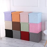 Simple Fabric Storage Storage Stool Folding Shoe Bench Footstool Can Sit With Lid Storage Box Stool 30*30*30cm Z1123
