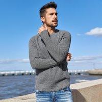 Kuegou 100% algodão outono inverno macho camisola moda rodada colarinho de malha camisola magro homens tops plus size az-14012 201203
