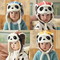 Зимние дети шапка Panda маска мультфильм плюшевые утолщение малыша ловушка шапка мультфильм защита от уха шапочки ребёнок мальчик девушка 15бл g2