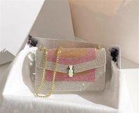 Bolsa de órgão de cabeça de cobra de esmalte lindo com cor de contraste e diamante estilo incrustado moda feminina bolsa de ombro de alta qualidade saco de cadeia de alta qualidade
