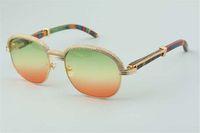 19 Óculos de sol de alta qualidade de alta qualidade, elegante atmosfera high-end superior natural pernas de madeira espelho óculos de sol 1116728-A