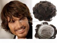 뜨거운 판매 어두운 갈색 # 2 색 toupee 남자를위한 전체 스위스 레이스 머리 조각 브라질 버진 인간의 머리카락 교체