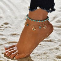 Anklet di estate del cuore della boemia Set per le donne Tortoise Braccialetti della caviglia Ragazze a piedi nudi sulla catena della gamba Regalo dei monili femminili 158 O2
