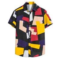 남성 캐주얼 셔츠 남성 패치 워크 플러스 사이즈 셔츠 짧은 소매 블랙 볼링 코튼 Camisa Masculina # 0324G301
