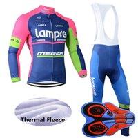 새로운 팀 Lampre 겨울 자전거 저지 세트 남자 긴 소매 열 양털 야외 도로 자전거 유니폼 MTB 자전거 의류 Y092612