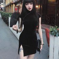 الصيف المخملية اللباس المرأة اللباس الصينية شيونغسام المتناثرة مثير ضيق القوطية الشرير الأسود الوردي vestidos1