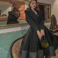 Le Palais Vintage 2020 Original Automne Hiver NOUVEAU Jupe surdimensionnée de laine Noire Noir Collection Taille Slim Manteaux Vintage Femmes