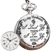 كوارتز جيب ووتش لزوجي أحبك بالنسبة له الذكرى عيد الميلاد يوم عيد الميلاد أفضل هدية الزفاف الحالية فوب قلادة الساعات