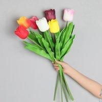 Yumai 60 см PU Real Touch Tulips Цветы Искусственная свадьба Украшения Цветочная ветвь Длинный Стем Тюльпан Для Домашнего стола Декор