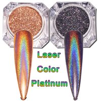 Negro / Oro Láser Nail Glitter Polvo Holográfico Para Nails Espejo Pulido Pigmentos Cromados Shimmer Dip Powders Nail Art Decoraciones
