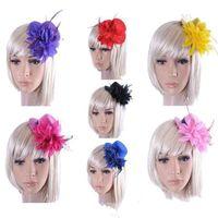 9 가지 색상 머리핀 인기있는 공식 모자 꽃 그물 깃털 신부 모래 여자 솔리드 컬러 헤어 클립 헤어 액세서리 4TX K2