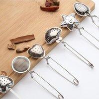 Filtro de aço inoxidável colher de chá colher de tempero infusor 6 estilos star shell oval redondo forma coração filtro de chá ppa2974