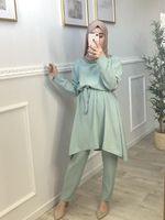 Ramadan Aid Mubarak Abaya Dubai Türkei Hijab Muslim Sets Kleid Islam Kleidung Für Frauen Ensembles Musulman Kaftan Robe Femme ETE