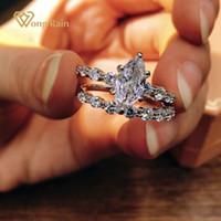 Wong Yağmur 925 Ayar Gümüş Markiz Kesim Oluşturulan Mozanit Taş Düğün Nişan Romantik Yüzük Kadınlar Için Güzel Takı J1225
