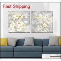 DYC 10059 2 UNIDS Flores blancas Impresión de arte listo JLLLCPB TrustBde