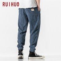 Ruihuo otoño Corduroy Harem Pantalones Hombres Joggers Pantalones para hombres Streetwear Korean Pantalones casuales para hombres Hip Hop Tracksuit M-5XL 20116