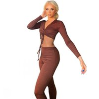 Stretchable Solid Color Ribbed Two Piece Set Women V Neck Crop Tops And High Waist Pant Outfits Autumn New Fashion Sexy Club Set