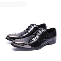 Square Toe Men Shoe Custom Handmade Genuine Leather Men Oxford Shoe Black Patent Leather Zapatos Hombre Business Men Dress Shoes